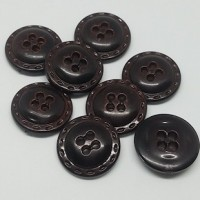 """Dark Brown ResinVintage 1970's Made in Italy18mm (3/4"""") diaMin. 1 Doz. - Product Image"""