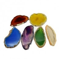 "LOGIN TO VIEW PRICINGNatural Agate SlicesDyed - FlatSizes vary50 - 100mm x 27 - 60mm(1 1/8 - 2 1/2"" x ) - Product Image"