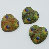"Acrylic ButtonHeart/Peacock Pattern22mm (7/8"") diaMin. 1 doz. - Product Image"