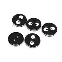 "LOGIN TO VIEW PRICINGWhite Eyes Black Button2-holes Round12mm (1/2"") dia.Min. 1 Doz. - Product Image"