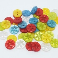 "Resin ButtonCut Flower14mm (1/2"") diaMin. 1 Doz. - Product Image"