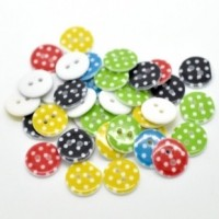 "Resin ButtonDot Pattern Mixed15mm (5/8"") diaMin. 1 Doz. - Product Image"