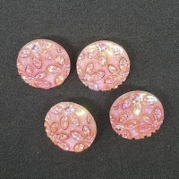 "Acrylic ButtonPink Glitter Flowers20mm (3/4"") diaMin. 6 Units - Product Image"