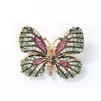 "ButterflyMulticolor RhinestonesGold Plated47mm x 37mm(1 7/8"" x 1 1/2"") - Product Image"
