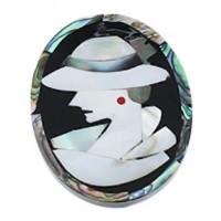 "Mosaic Flat OvalAbalone, Freshwater ShellBlack Shell & Resin43mm x 55mm(2 1/8"" x 1 3/4"") - Product Image"