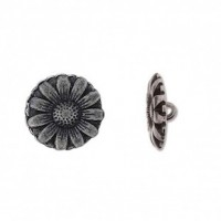 "Antique Matte BlackCarved Flower17 mm ( 5/8"") DiaMin. 6 Units - Product Image"