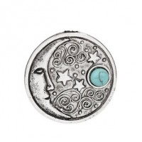 "Sun FaceAntique Silver AlloyImitation Turquoise30mm1 1/8"" dia. - Product Image"