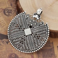 "LOGIN TO VIEW PRICINGFiligreeAntique Silver DiscAlloy Round74mm2 7/8"" dia. - Product Image"