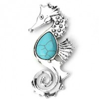 "LOGIN TO VIEW PRICINGSeahorseAntique Silver AlloyImitation Turquoise100mm x 36mm3 7/8"" x 1 3/8"" - Product Image"