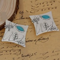 "Dragonfly & TreeAntique Silver AlloyImitation Turquoise50mm2"" square - Product Image"