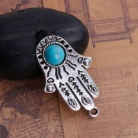 "Fatima HandAntique Silver AlloyImitation Turquoise41mm x 24mm2 7/8"" x 2 1/2"" - Product Image"