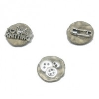 "LOGIN TO VIEW PRICINGAntique Silver Buttonwith CharmIrregular Hammered20mm (3/4"") dia. - Product Image"