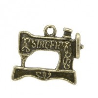 Antique BrassSewing Machine Charm18mm x 20mm Min. 1 doz. - Product Image