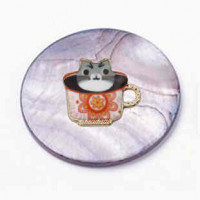 """LOGIN TO VIEW PRICINGBlack Lip Shell DiscCat in TeacupEnamel/Alloy30mm (1 3/16"""") dia. - Product Image"""