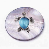 """LOGIN TO VIEW PRICINGBlack Lip Shell DiscTurtle w/Glass StoneZinc Alloy30mm (1 3/16"""") dia. - Product Image"""