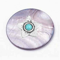 "LOGIN TO VIEW PRICINGBlack Lip Shell DiscStar w/ Blue StoneZinc Alloy30mm (1 3/16"") dia. - Product Image"
