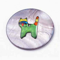 """LOGIN TO VIEW PRICINGBlack Lip Shell Discwith GreenEnamel Cat30mm (1 3/16"""") dia. - Product Image"""