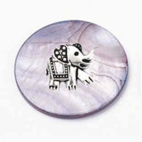 """LOGIN TO VIEW PRICINGBlack Lip Shell Discwith ElephantCharm30mm (1 3/16"""") dia. - Product Image"""