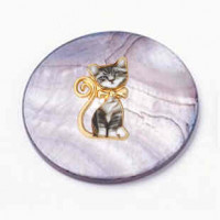 """LOGIN TO VIEW PRICINGBlack Lip Shell Discwith Enamel CatGold Plated Alloy30mm (1 3/16"""") dia. - Product Image"""