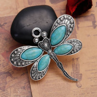 "DragonflyAntique Silver AlloyImitation Turquoise60mm x 53mm2 3/8"" x 2 1/8"" - Product Image"