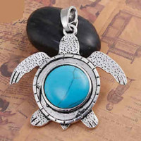 "LOGIN TO VIEW PRICINGTurtleAntique Silver AlloyImitation Turquoise74mm x 65mm2 7/8"" x 2 1/2"" - Product Image"