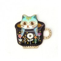 "Cat in TeacupColors varyAlloy Enamel23mm x 23mm(7/8"" x 7/8"") - Product Image"
