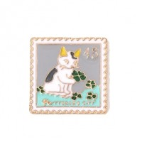 """Cat StampEnamel/Gold PlatedSquare24mm(7/8"""") - Product Image"""