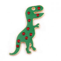 "LOGIN TO VIEW PRICINGDinosaurGold PlatedGreen/Red Enamel22mm x 28mm(1"" x 3/4"") - Product Image"
