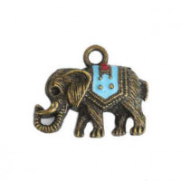 "LOGIN TO VIEW PRICINGElephantSkyblue EnamelAntique Bronze23mm x 20mm(7/8"" x 11/16"") - Product Image"