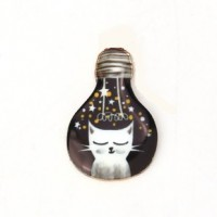 "Cat in LightbulbMixed DesignsAlloy Enamel28mm x 17mm(1 1/8"" x 5/8"") - Product Image"