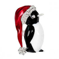 """LOGIN TO VIEW PRICINGChristmas Hat PenguinRed/Black Enamel Clear Rhinestones39mm x 30mm(1 1/2"""" x 1"""") - Product Image"""