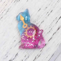 "LOGIN TO VIEW PRICINGCat Turquoise/Magenta GlitterResin38mm x 33mm(1 1/2 x 1 1/4"") - Product Image"