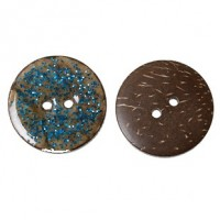 "Coconut ShellBlue Enamel Glitter25mm (1"") DiaMin. 1 doz. - Product Image"