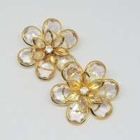 Flower Glass LeavesRhinestone Button35mm dia. - ShankMin. 6 Units - Product Image
