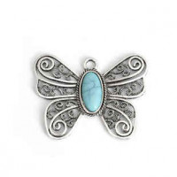 "LOGIN TO VIEW PRICINGButterflyAntique Silver AlloyImitation Turquoise58mm x 46mm2 1/4"" x 1 3/4"" - Product Image"
