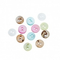"Mother of Pearl ButtonDyed - 2 Holes10mm (3/8"")Mixed ColorsMin. 2 Doz. - Product Image"