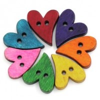 "Dyed Wood ButtonHearts21mm x 17mm (7/8"" x 5/8"")Min. 1 doz. - Product Image"