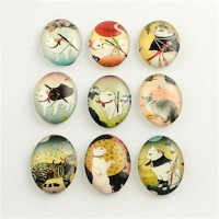 "LOGIN TO VIEW PRICINGSamurai CatsGlassMixed Designs30mm x 20mm(1 1/4"" x 3/4"") - Product Image"