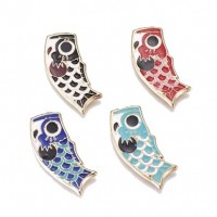 "LOGIN TO VIEW PRICINGKoi Fish FlagColors varyAlloy Enamel35mm x 14mm(1 1/2"" x 1/2"") - Product Image"