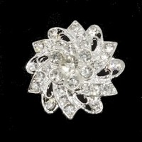 "FlowerSilver AlloyClear Rhinestones32mm1 1/4"" dia - Product Image"