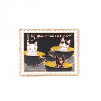 "Cat StampEnamel/Gold PlatedRectangular22mm x 28mm(1"" x 3/4"") - Product Image"