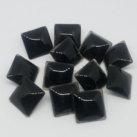 "Domed Glass ButtonBlack20mm (3/4"") rect.Min. 6 Units - Product Image"