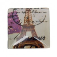 "Half Round Dome GlassEiffel Tower34mm (1 3/8"") squareMin. 6 Units - Product Image"