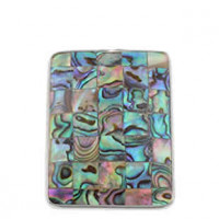 "LOGIN TO VIEW PRICINGBlockAbalone/Paua ShellBrass Setting31mm x 47mm1 1/8"" x 1 3/4"" - Product Image"