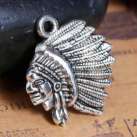 """LOGIN TO VIEW PRICINGIndian ChiefAntique SilverZinc Based Alloy21mm x 18mm7/8"""" x 3/4"""" - Product Image"""