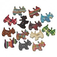 "LOGIN TO VIEW PRICINGWood Scottie Button28mm x 21mm(1 1/8"" x 3/4"")Mixed ColorsMin. 1 Doz. - Product Image"