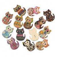 "Wood Cat Button30mm x 23mm(1 1/8"" x 7/8"")Mixed ColorsMin. 1 Doz. - Product Image"