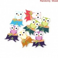 "LOGIN TO VIEW PRICINGWood Owl Button32mm x 27mm(1 1/4"" x 1 1/8"")Mixed ColorsMin. 1 Doz. - Product Image"