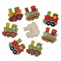 "LOGIN TO VIEW PRICINGWood Train Button25mm x 22mm(1"" x 7/8"")Mixed ColorsMin. 1 Doz. - Product Image"