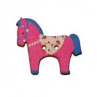 "LOGIN TO VIEW PRICINGWood Horse Button29mm x 25mm(1 1/8"" x 1"")Magenta/Dk. BlueMin. 1 Doz. - Product Image"